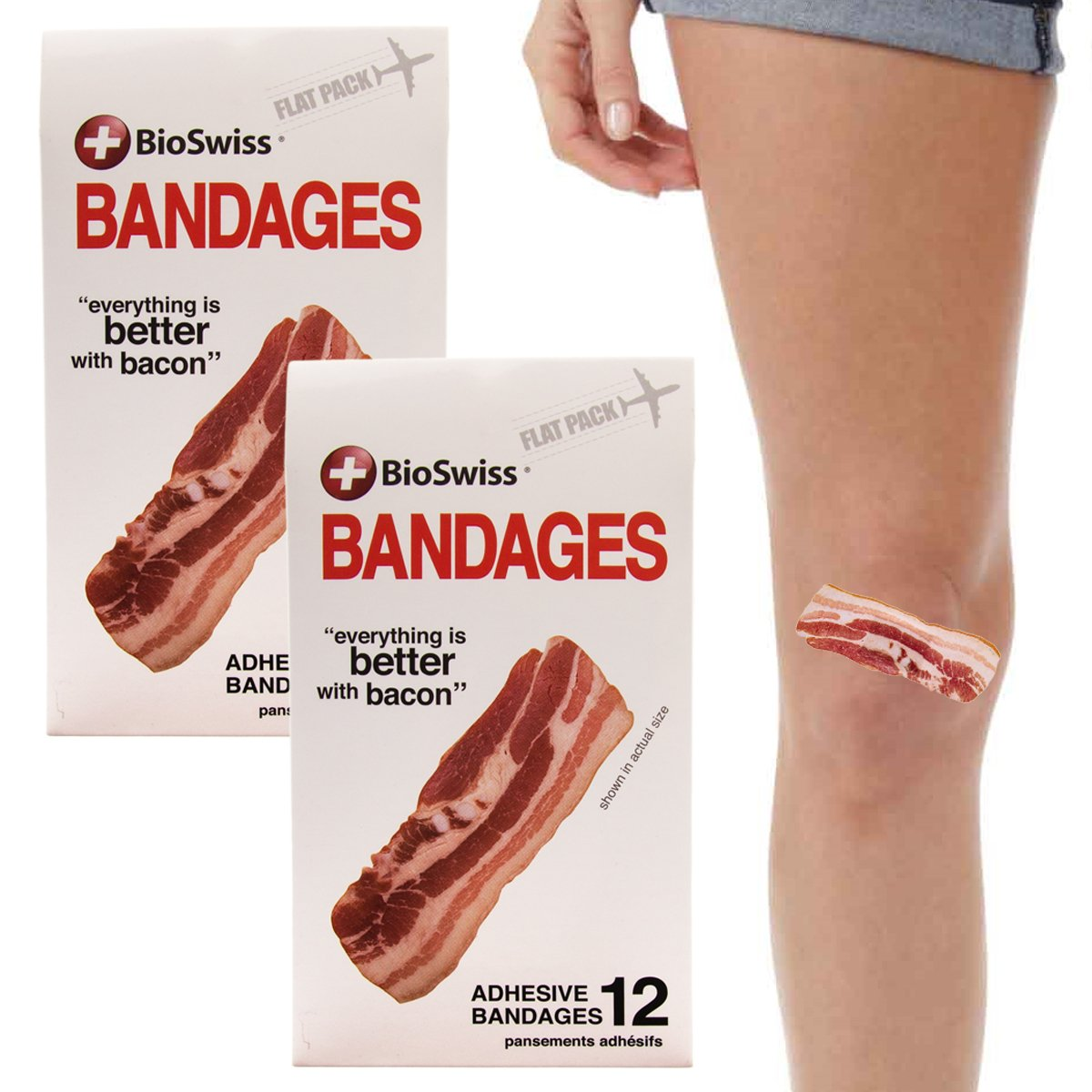 BioSwiss 24pc Bacon Bandages Strips Self-Adhesive Funny First Aid, Novelty Gag Gift for Kids Adults