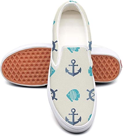 Vosda Crabs Stars and Anchors Classic Women Canvas Slip-On Shoes Sneaker