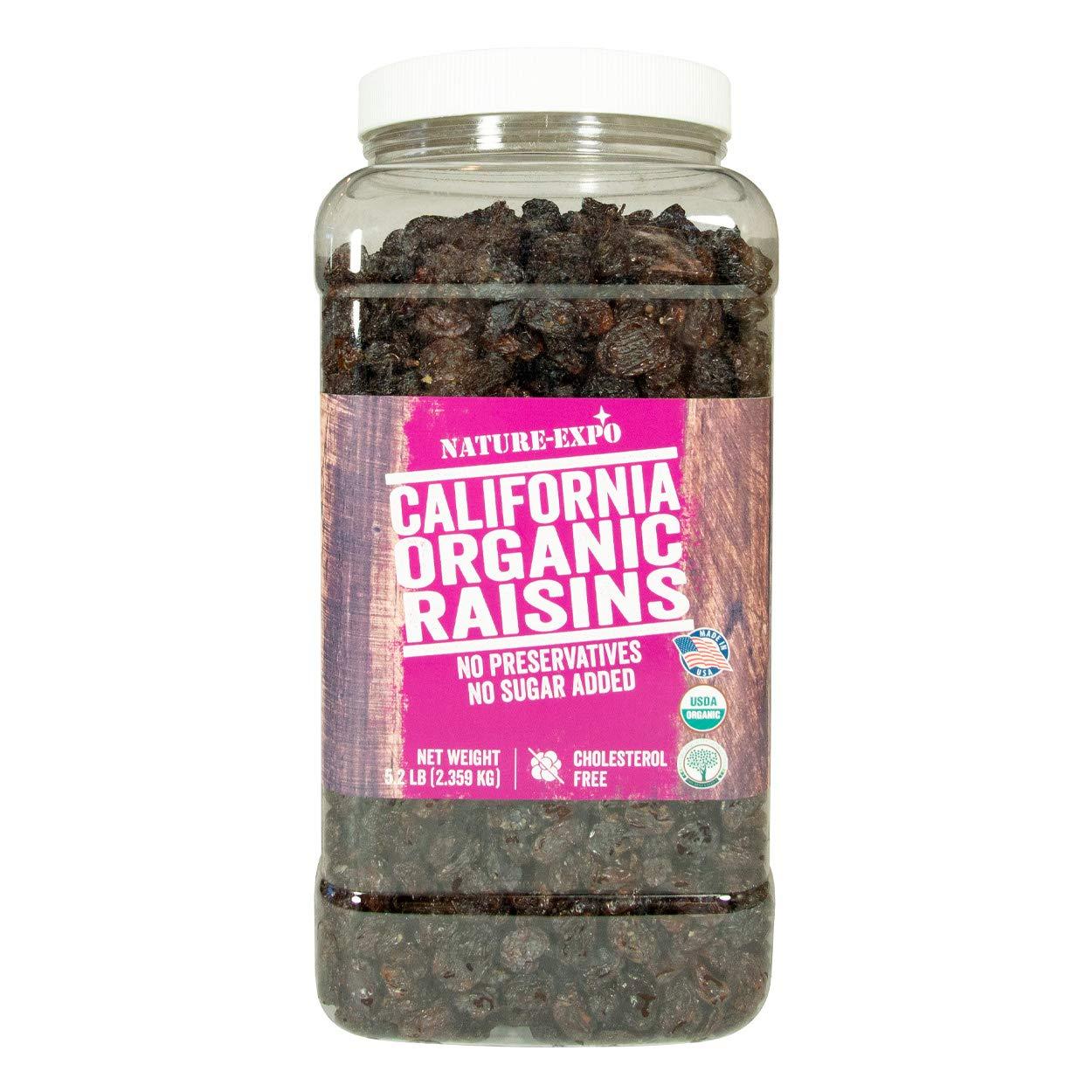 Nature-Expo California Organic Raisins - 5.2 lb Large PET Jar, Seasonally Fresh, Seedless, No Added Sugars or Preservatives, Non-GMO