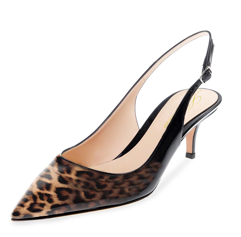 Lutalica Frauen Kitten Heel Spitze Patent Slingback Party Kleid Pumps Schuhe für Party Slingback Schwarz-leopard Patent 7c4734