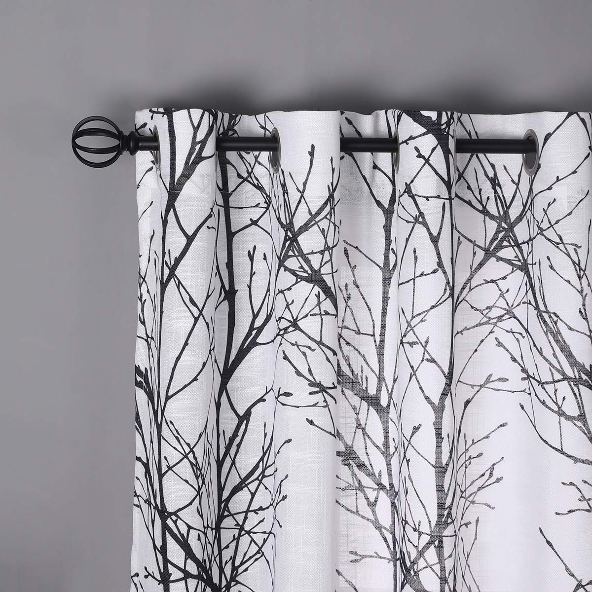 Black White Sheer Curtains for Living-Room 84 inches Long Print Semi-Sheer Window Drapes for Bedroom Branch Tree Curtains for Patio Door Kitchen Grommet Top