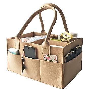 HyFanStr fieltro pañales Caddy organizador bolsa de toallitas para bebé Nursary Storag papelera beige: Amazon.es: Bebé