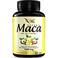 Organic Maca Root Powder Capsules Black, Red, Yellow - 150 Vegan Pills - 1500mg...
