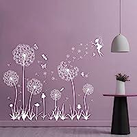 Pegatina Pared Vinilo Adhesivo Decorativo Pared Sticker Pared Flores Diente de León Hada para Ventana Habitación…