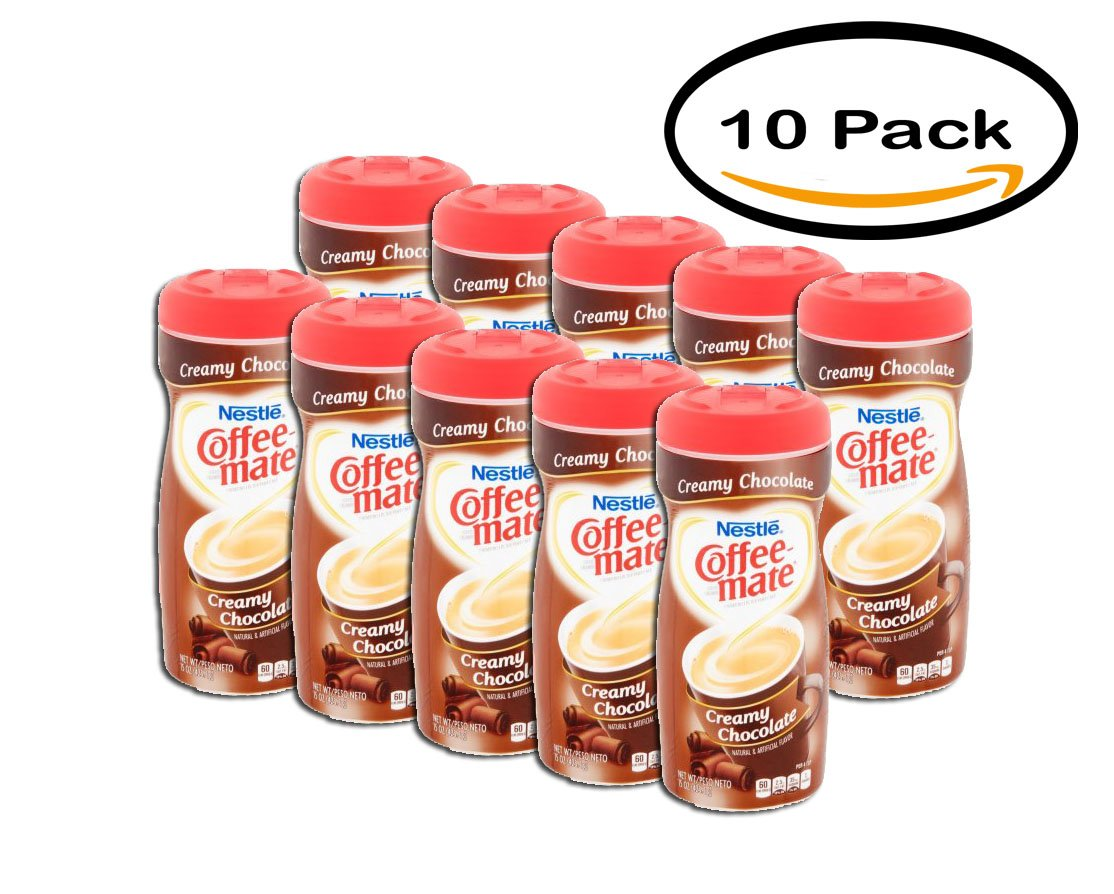 PACK OF 10 - COFFEE-MATE Creamy Chocolate Powder Coffee Creamer 15 oz. Canister