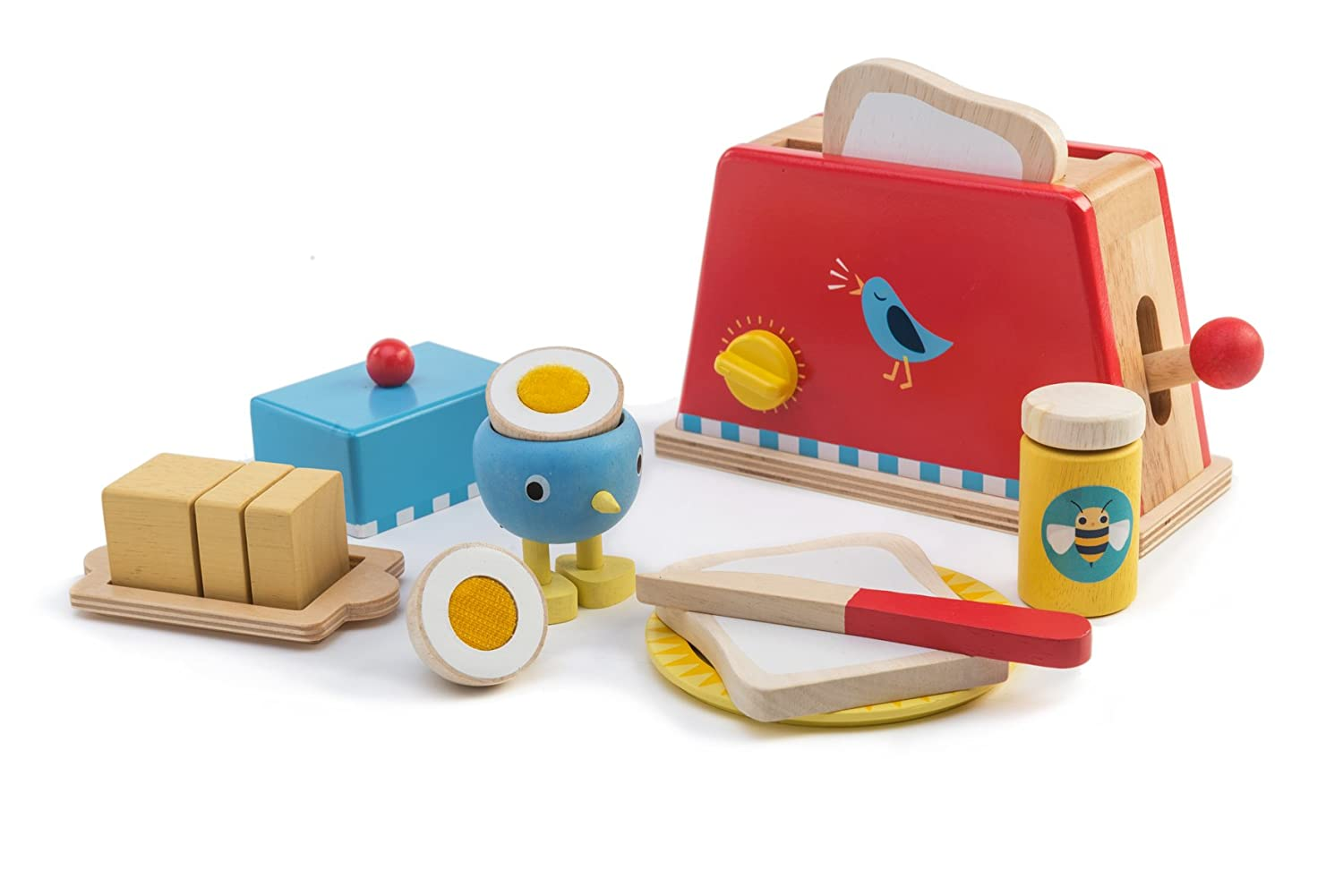 Tender Leaf Toys - Classic Wooden Pop Up Toaster and Egg Set - Pretend Food Play Toy Toaster with Bread, Butter, and Eggs - Encourages Imaginative Play, Roleplay, and Communication Skills - 3 Year +