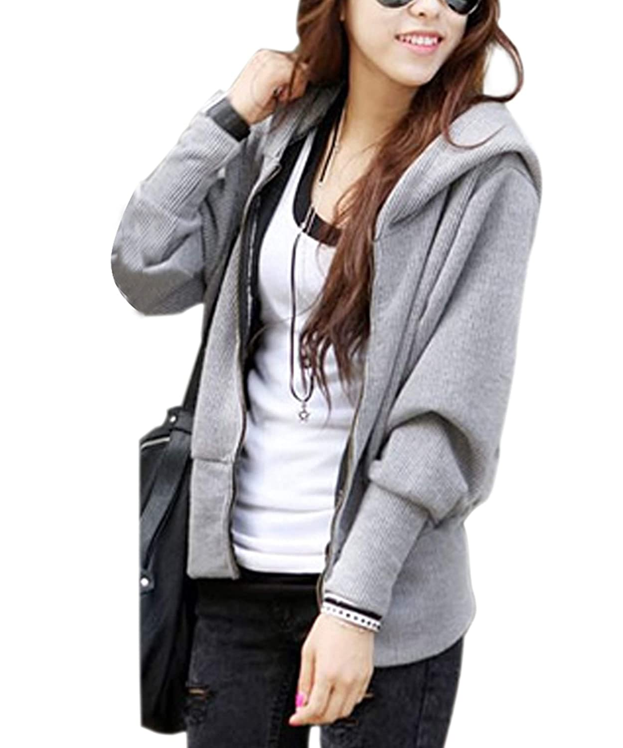 Fanala ladies casual Cotton Blend Long Sleeve hooded jacket winter jacket sweater