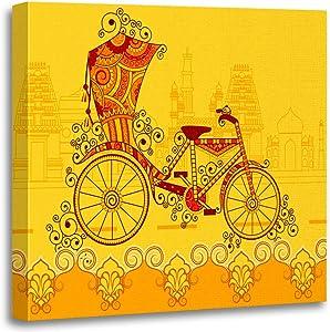 Dybsm Canvas Print Wall Art Wooden Framed 16x16 Inches India Cycle Rickshaw Kolkata Floral Home Artwork Living Room Bedroom Office Decor Prints Easy to Hang