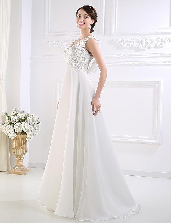 Adasbridal-Vestido de novia de A-linea impresionante tul y organza de raso con cuello en V: Amazon.es: Ropa y accesorios