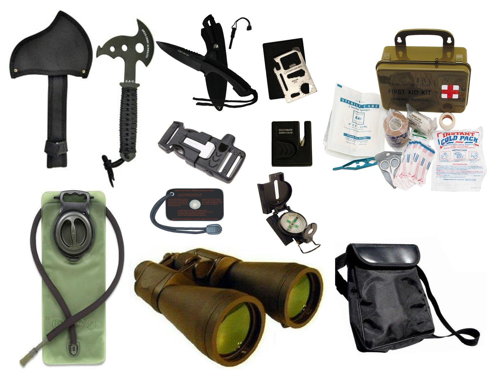 Survival Camping Hiking 20X70 Binoculars Green,Emergency First Aid Kit, Sharpener, Axe, Fire Starter Blade, Whistle Flint Striker Belt Buckle, Hydration Bladder, Multi Tool, Compass, Signal Mirror