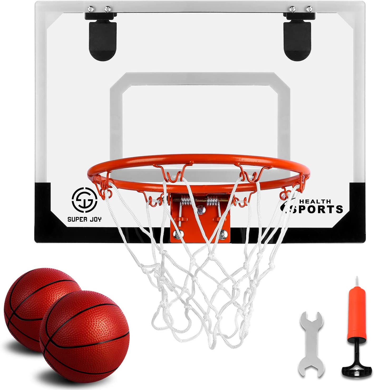 Amazon Com Super Joy Pro Indoor Mini Basketball Hoop Over The Door Wall Mounted Basketball Hoop Set With Complete Accessories Basketball Toy For Kids Adults Sports Outdoors