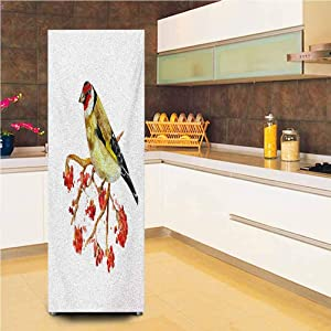 "3D Door Fridge DIY Stickers,Watercolor Painting Style Cute Wild Bird on Branch with Berries Artwork Vinyl Door Cover Refrigerator Stickers,24x70"",for Home Decor,Earth Yellow Red Black"