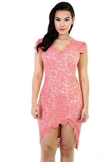 b5daf1791bb Amazon.com  GITI ONLINE Low-High Floral Lace Dress  Clothing