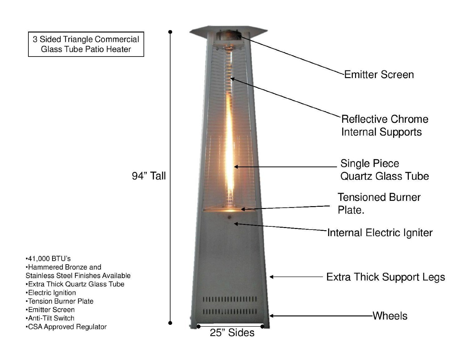 Amazon.com : Mocha Cover For 3 Sided Glass Tube Patio Heater : Garden U0026  Outdoor