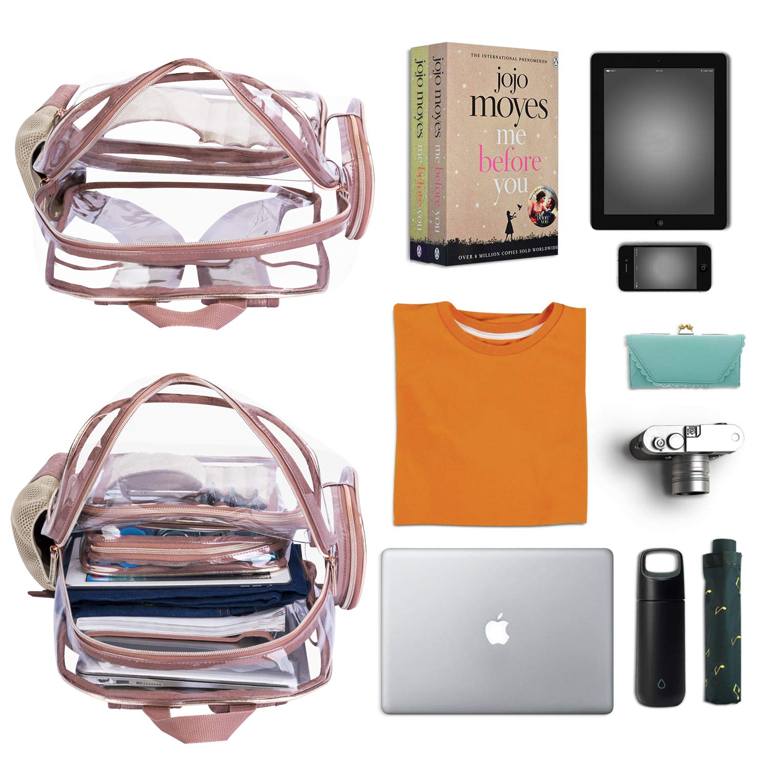 NiceEbag Clear Backpack with Cosmetic Bag & Case, Clear Transparent PVC Multi-pockets School Backpack Outdoor Bookbag Travel Makeup Quart Luggage Pouch Organizer Fit 15.6 Inch Laptop (Rose Gold) by NiceEbag (Image #3)