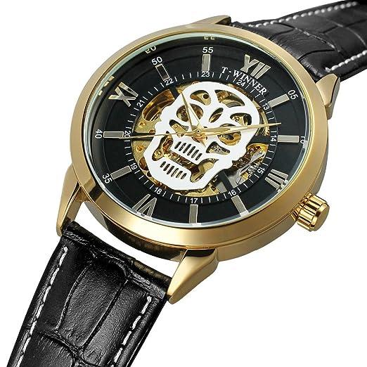 Para hombre Big esfera automático negocio vestido 3d calavera esqueleto reloj de pulsera mecánico automático viento reloj luminoso: Amazon.es: Relojes