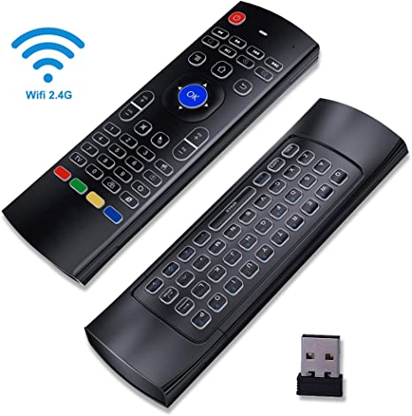 MX3 Air Mouse Remote retroiluminado, Android caja mando a distancia con aire ratón Android mando a distancia 3-Gyro + 3-Gsensor para Google Smart TV Caja HTPC PC Windows iOS Mac Linux Xbox: