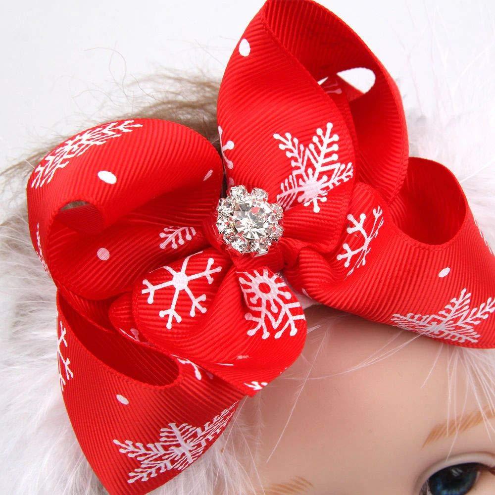 EROSPA/® Stirnband//Kopfband f/ür Babys//Kleinkinder XMAS//Weihnachten//Christmas M/ädchen Haarband mit gro/ßer Schleife und Schmuckstein Rot//Wei/ß