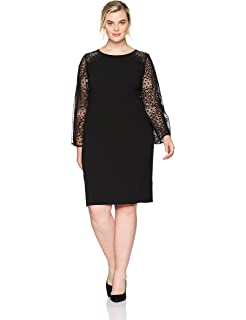 826d28a542 Alex Evenings Women s Plus-Size Short Shift Dress with Illusion Bell Sleeves