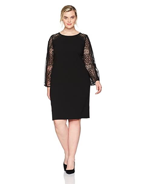 Alex Evenings Womens Plus Size Short Shift Dress With Illusion Bell Sleeves