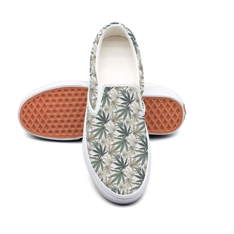 Sernfinjdr Women's Grey Cannabis Leaf Fashion Casual Canvas Slip on Shoes Cute Running Sneaker Shoes