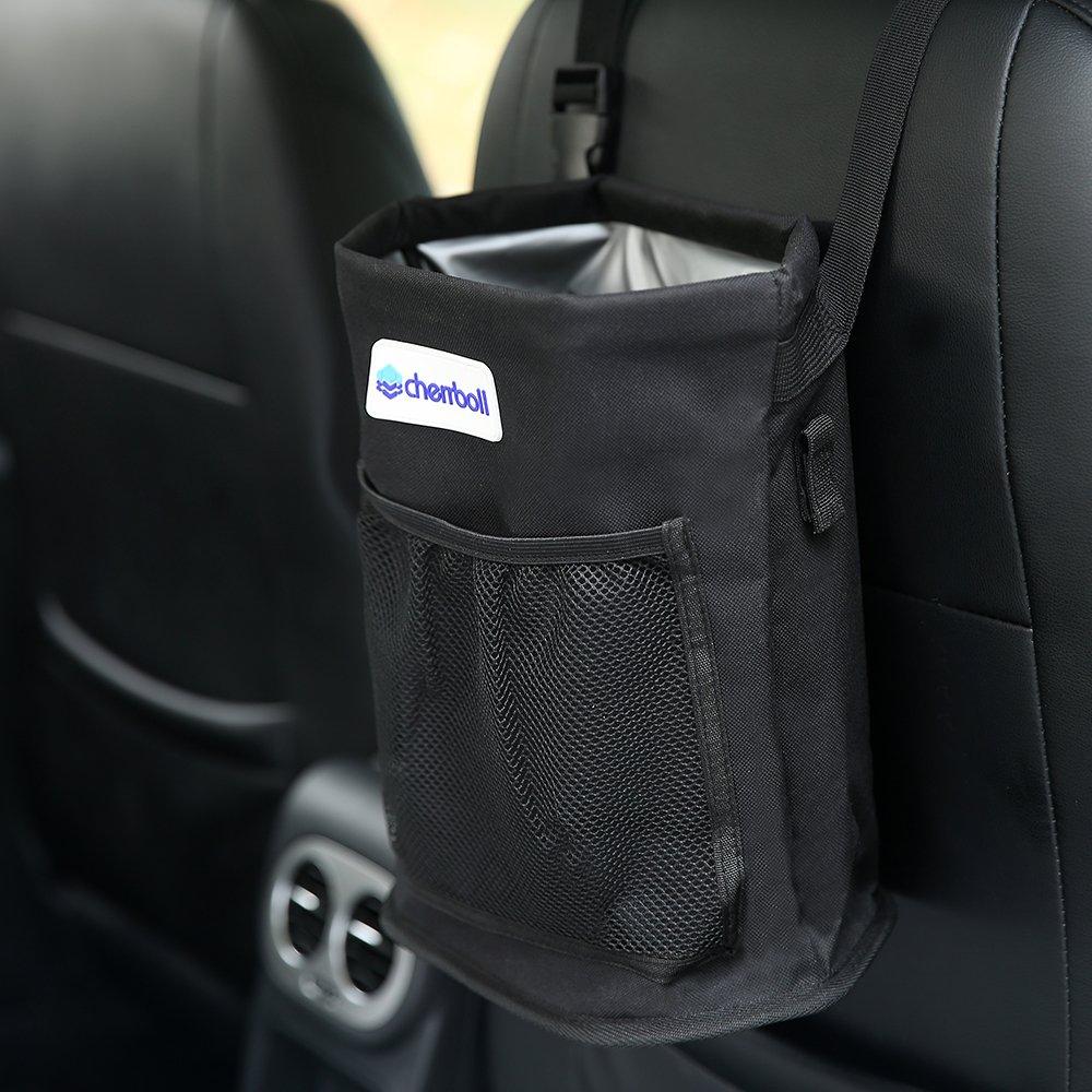 DELEBAO Waterproof Auto Trash Bag for Litter Car Seat Organizer Travel Storage Bag Seat Back Garbage Can