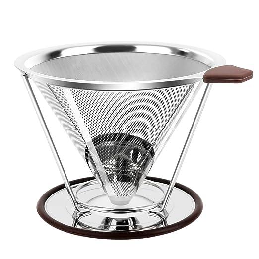 Cono de filtro de café de acero inoxidable, vierta sobre cafetera ...