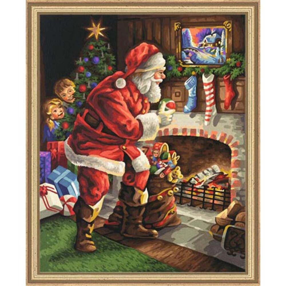 Schipper 609300696 Santa Claus by The Fireplace Paint by Numbers Board by Schipper