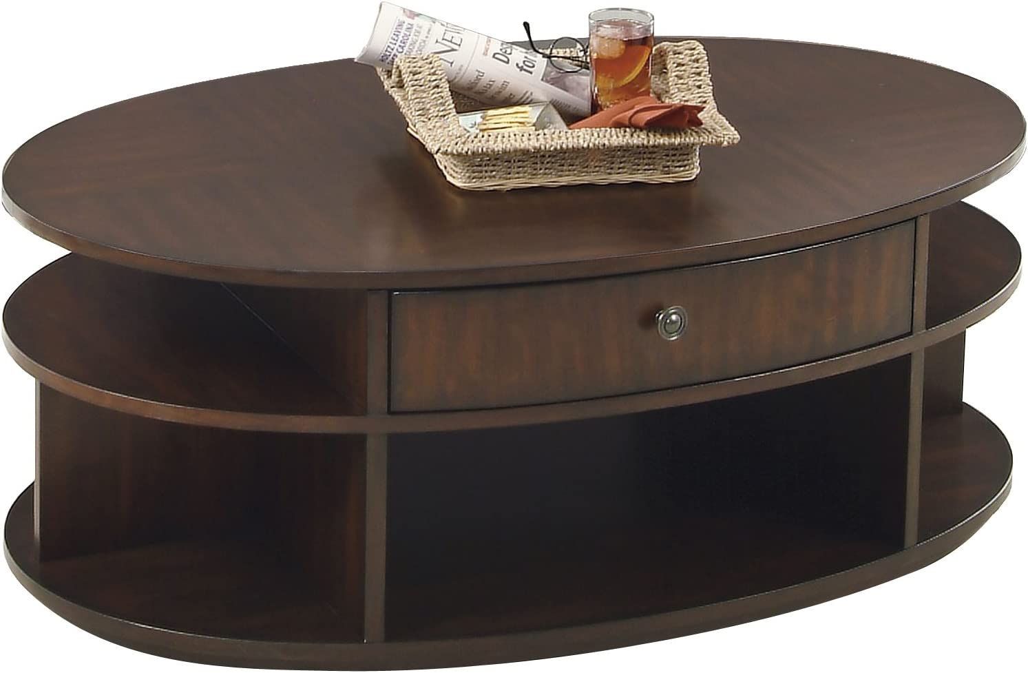 Progressive Furniture Metropolitan Oval Castered Lift-Top Cocktail Coffee Table
