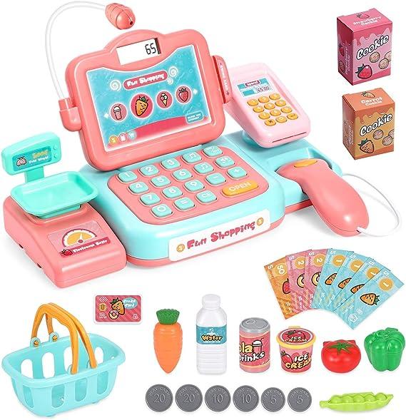 HOWADE Caja registradora duradera Juguete-Pretenda Juega Caja registradora educativa, Dinero ficticio y Juguete de abarrotes para niños, niños pequeños y preescolares: Amazon.es: Juguetes y juegos