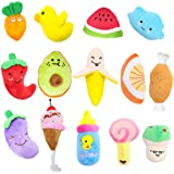Stuffed Dog Toy, 14 Pack Dog Squeaky Plush Toys Cute Small Dog Puppy Toys Fruits Snacks Vegetables Squeaky Puppy Dog…
