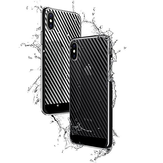 BLACK DIAGONAL STRIPES | Luxendary Chrome Series designer case for iPhone X in Titanium Black trim