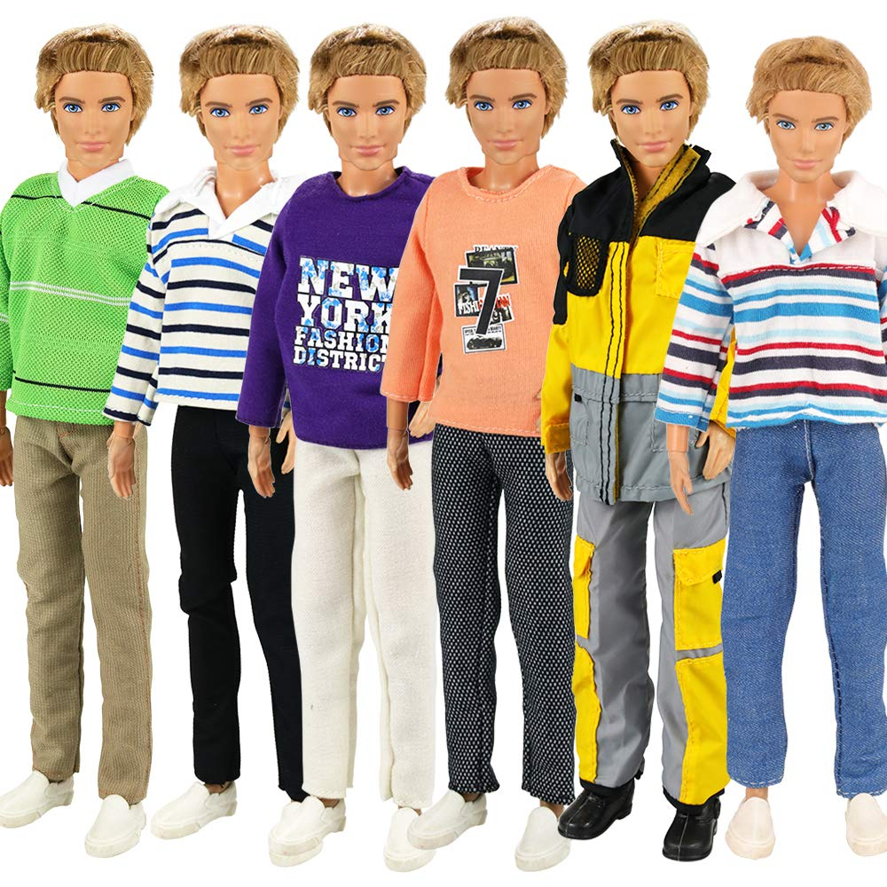 Miunana 3X Traje de Ropa Fashion con Camisa de Manga Larga + Pantalones Vestir Casual para Novio Príncipe Ken Muñeco Barbie Doll - Selección Aleatoria