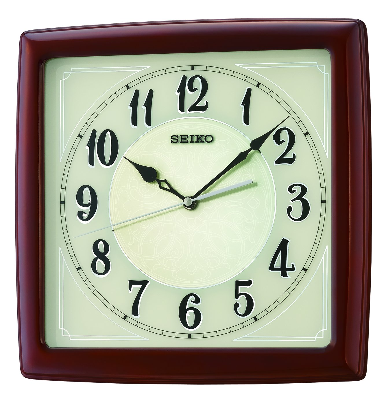 Seiko Dark Wooden Quartzbattery Square Wall Clock Cream Coloured