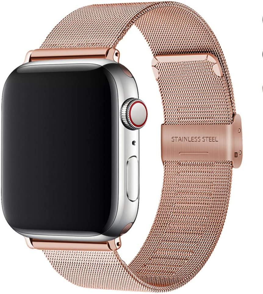 NIGHTCRUZ Compatible with Stainless Steel Mesh Apple Watch Band - Adjustable Sport Wristband for Apple Watch Series 5/4/3 (Rose Gold, 42MM/44MM)