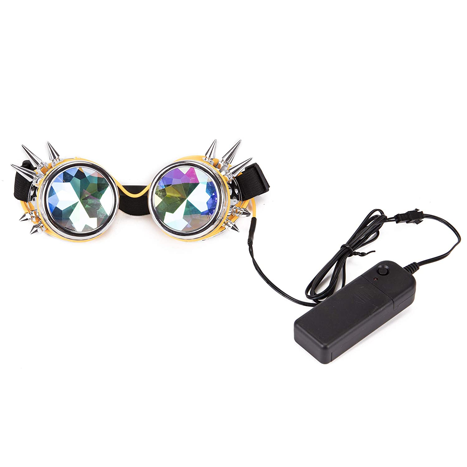KOLCY Kaleidoscope Glasses Spiked Glowing Tube Steampunk Goggles Crystal Glass