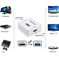 v18 Vani Vga to HDMI 1080P, Mini Audio Video Converter Adapter Box with USB Power Cable (White)