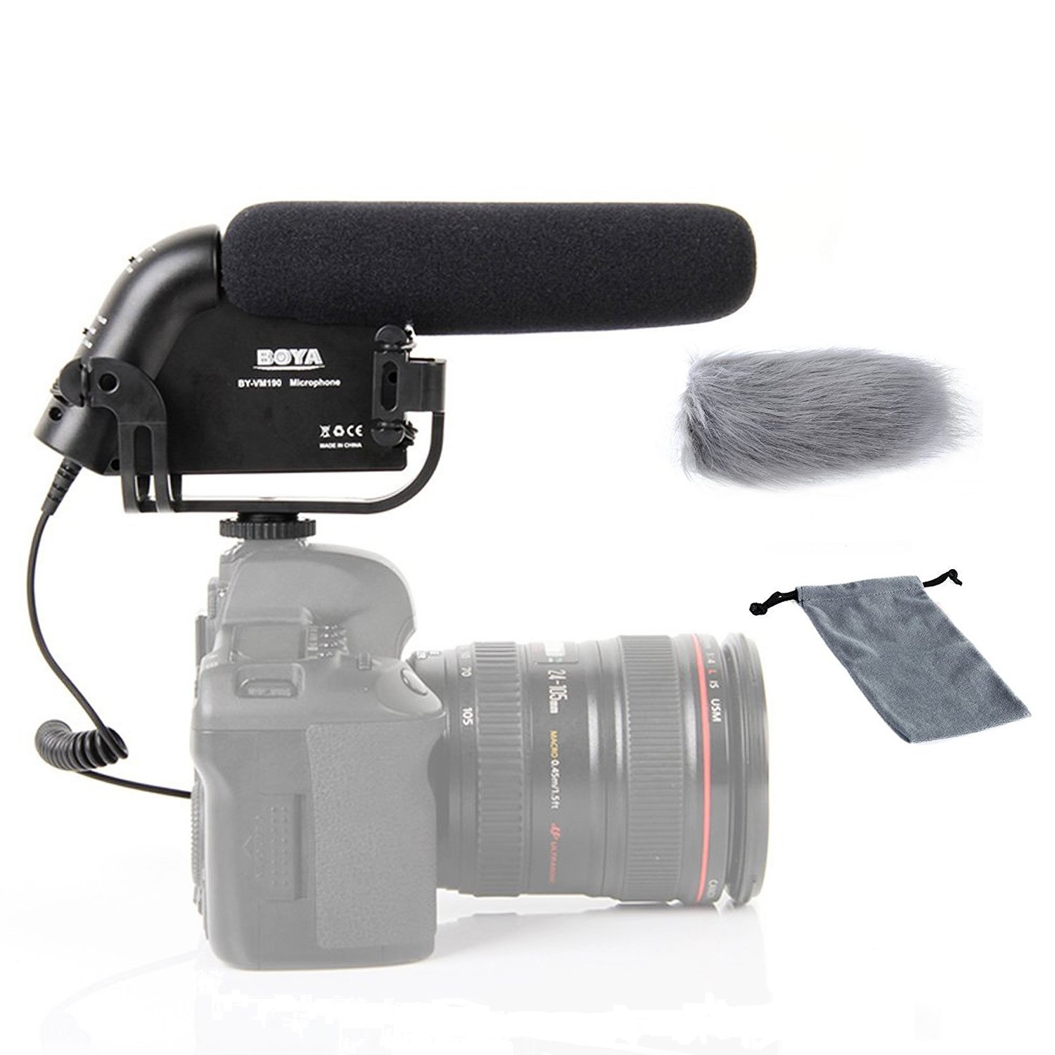 BOYA BY-PVM1000 Pro Broadcast-Quality Interview Shotgun Microphone with Foam Windscreen /& Shock Mount 3 Pin XLR Output for Canon 6D Nikon D800 Sony Panasonic Camcorders