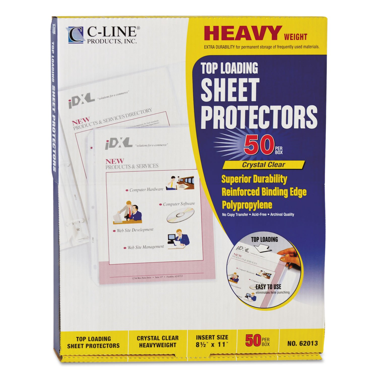 C-Line 62013 Heavyweight Polypropylene Sheet Protector, Clear, 2-Inch, 11 x 8 1/2, 50/BX by C-Line