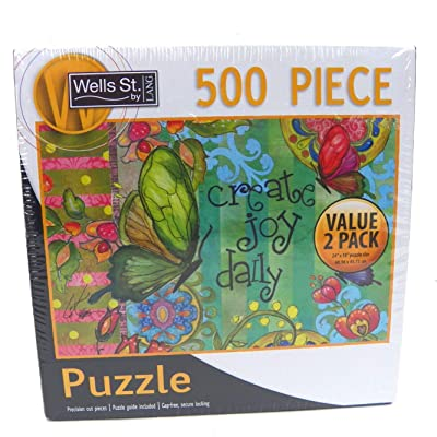 Lang Wells Street 500 Piece Puzzle, Live Joyously & Enjoy Life Value 2 Pack: Toys & Games