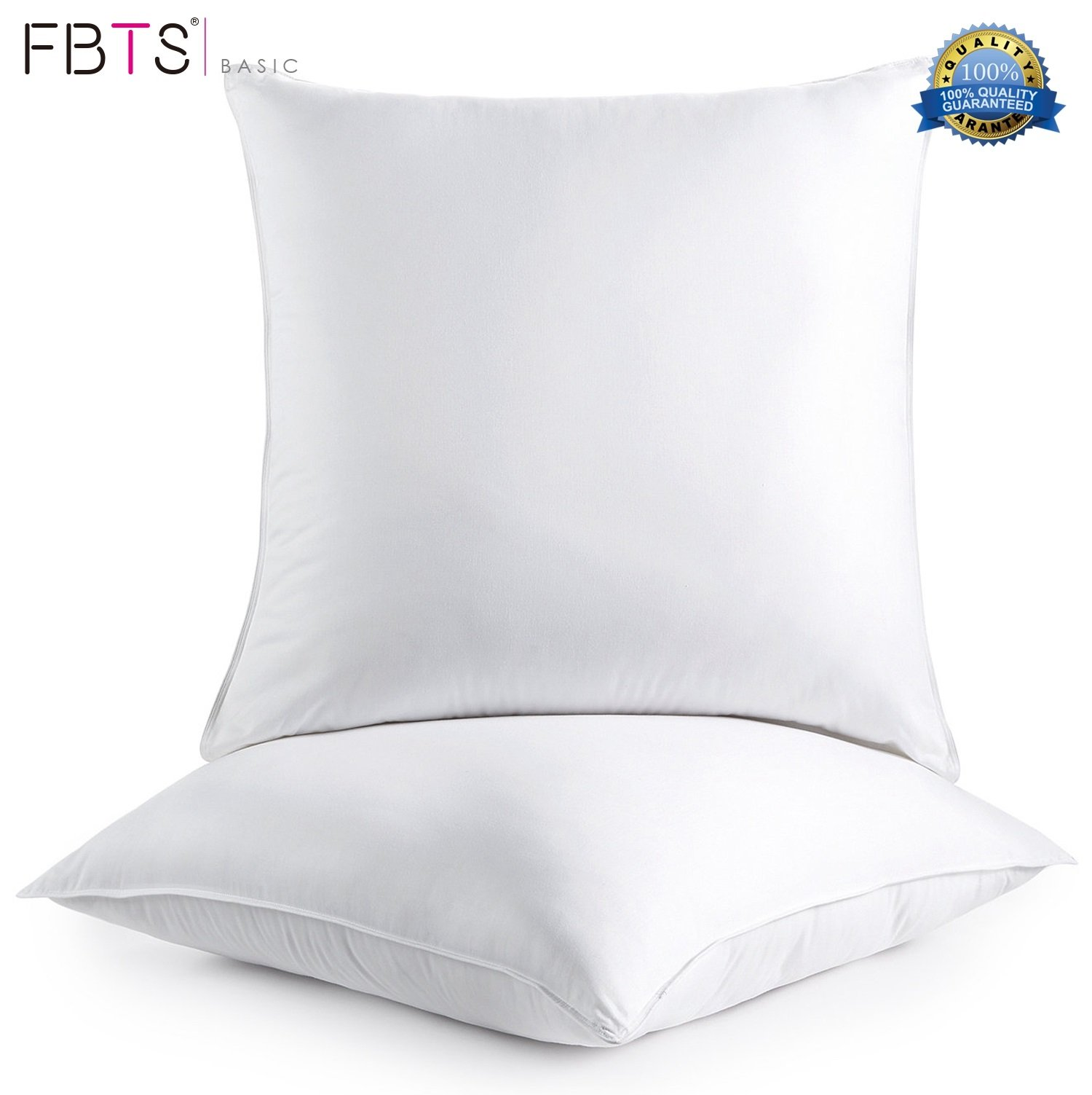 FBTS Basic Pillow Insert 2 Packs 18x18 Inch Square Sham Stuffer Premium Hypoallergenic Pillow Forms for Decorative Cushion Sofa Couch and Bed Pillows