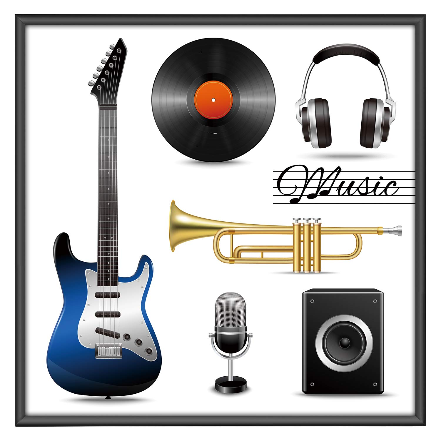 One Wall Album Frame - Aluminum Music Record Frame Displays 12.5x12.5 Inch Album Covers LP Covers - Wall Mounting Material Included