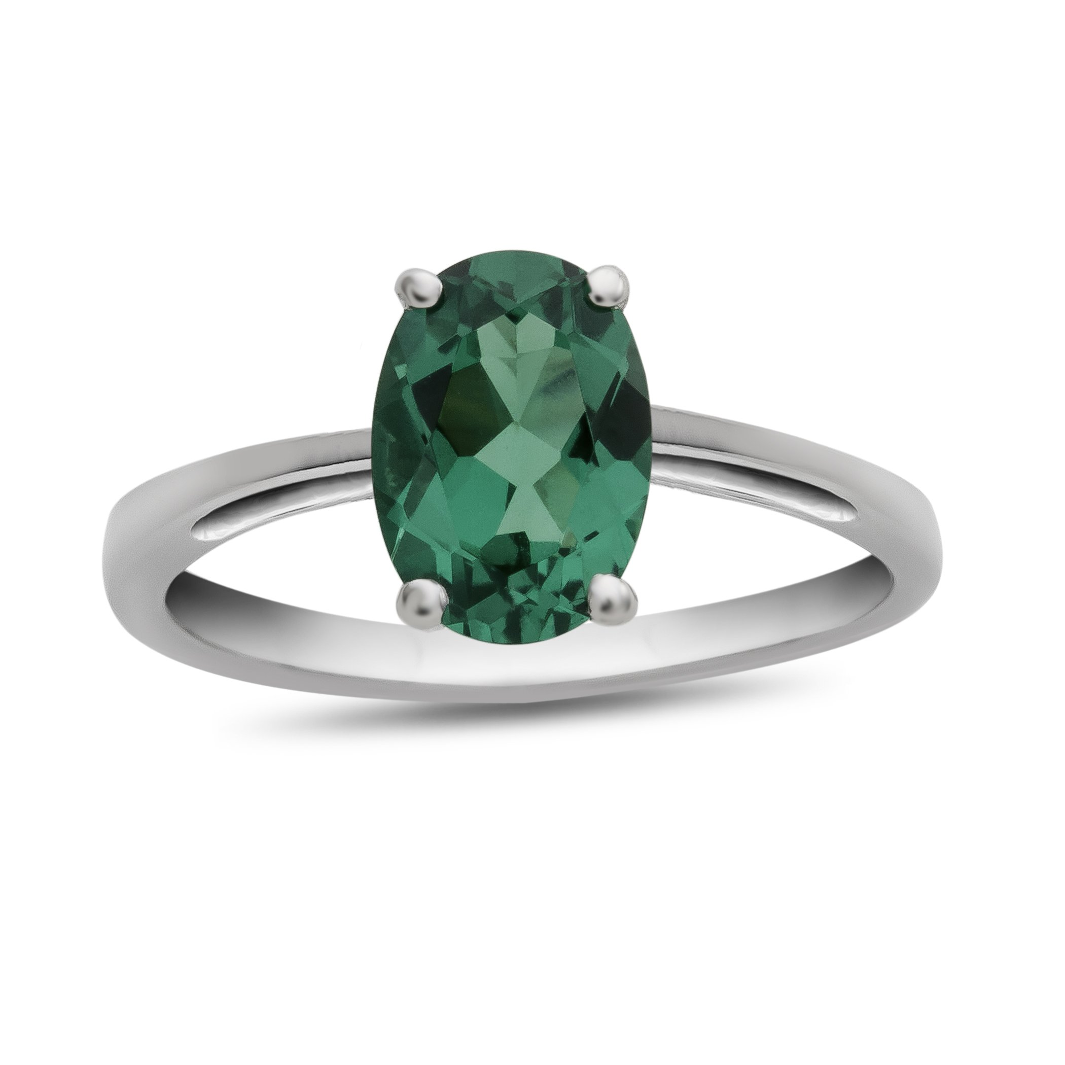 10k White Gold 7x5mm Oval Simulated Emerald Ring Size 5