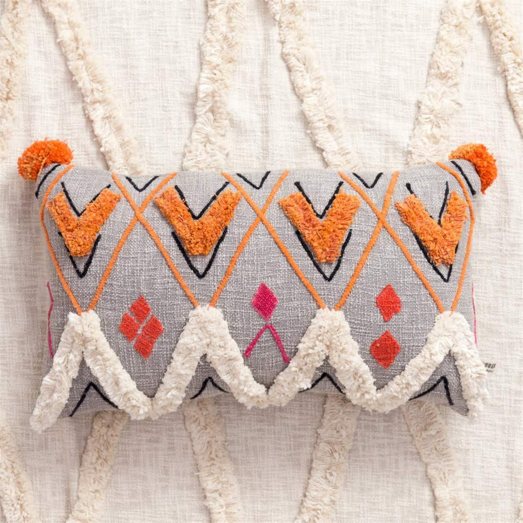 Zuodian YL Visual Taste Moroccan Style Hand-Embroidered Cotton Pillow Long Strip Pillow Creative Cushion (Color : E) by Yilian (Image #3)