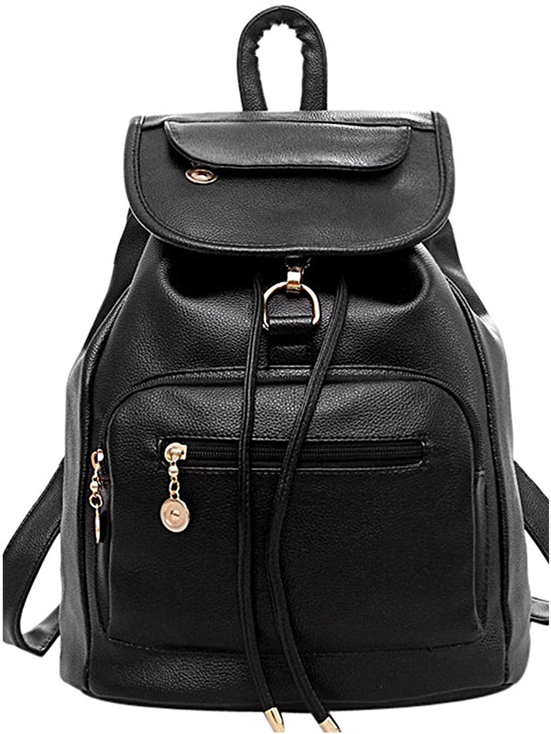 36790603e35a COOFIT Women Black Leather Backpack for Girls Schoolbag Casual Daypack