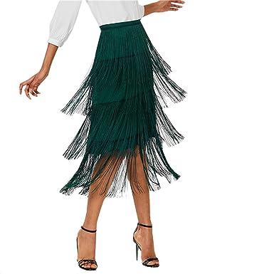 5e8e2d86234 Amazon.com: High Waist Pencil Skirt Harajuku Green Tiered Fringe Women  Plain Tassel Skirts: Clothing