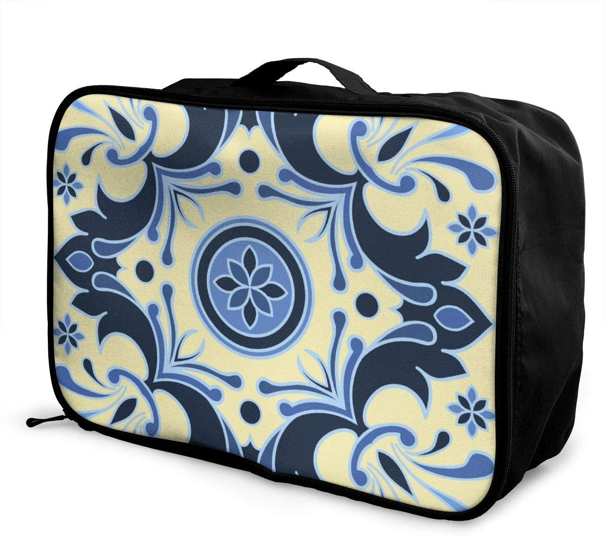 Yunshm Blue And Yellow Tile Style Italian Enamel Style Design Personalized Trolley Handbag Waterproof Unisex Large Capacity For Business Travel Storage