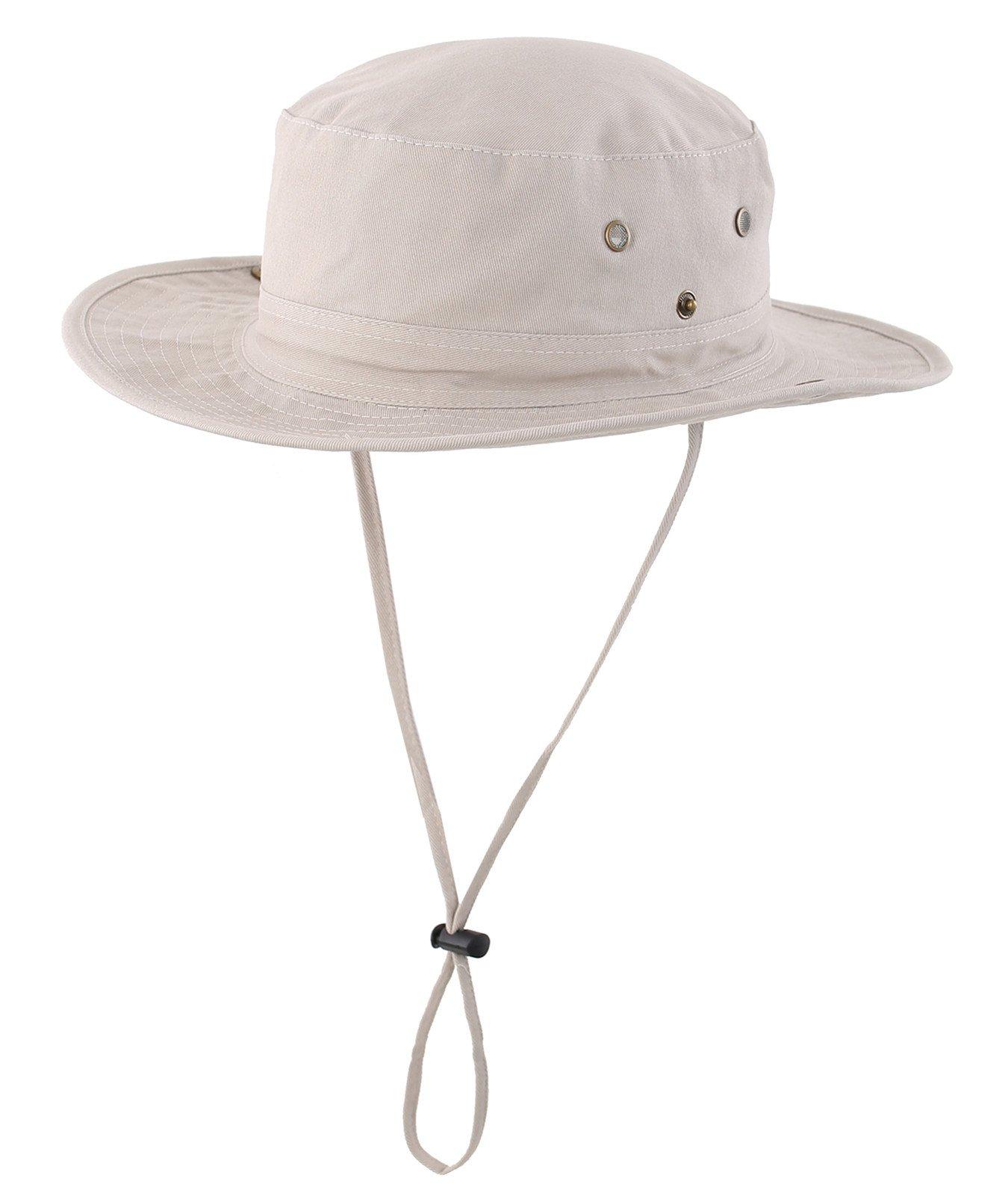 LLmoway Women Outdoor UPF50+ Boonie Hat Packable Breathable Cotton Bucket Sun Hat with String Khaki, Medium
