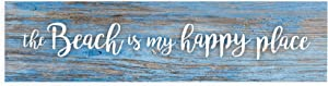 P. Graham Dunn Beach is My Happy Place Blue Distressed 6 x 1.5 Mini Pine Wood Tabletop Sign Plaque