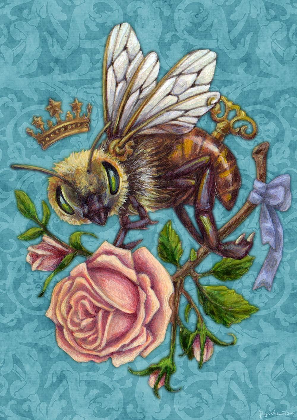 """Toland Home Garden 1112465 Steampunk Bee 12.5 x 18 Inch Decorative, Garden Flag (12.5"""" x 18"""")"""